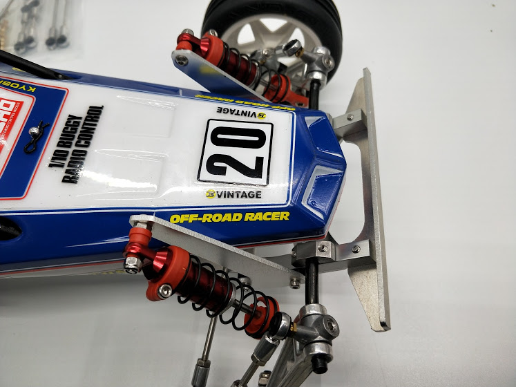 Kyosho SCORPION/ BEETLE/ TOMAHAWK/ TURBO SCORPION series. <BR> Front Bumper aluminum small type.