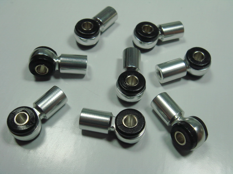 Aluminum rod end with rubber bushing